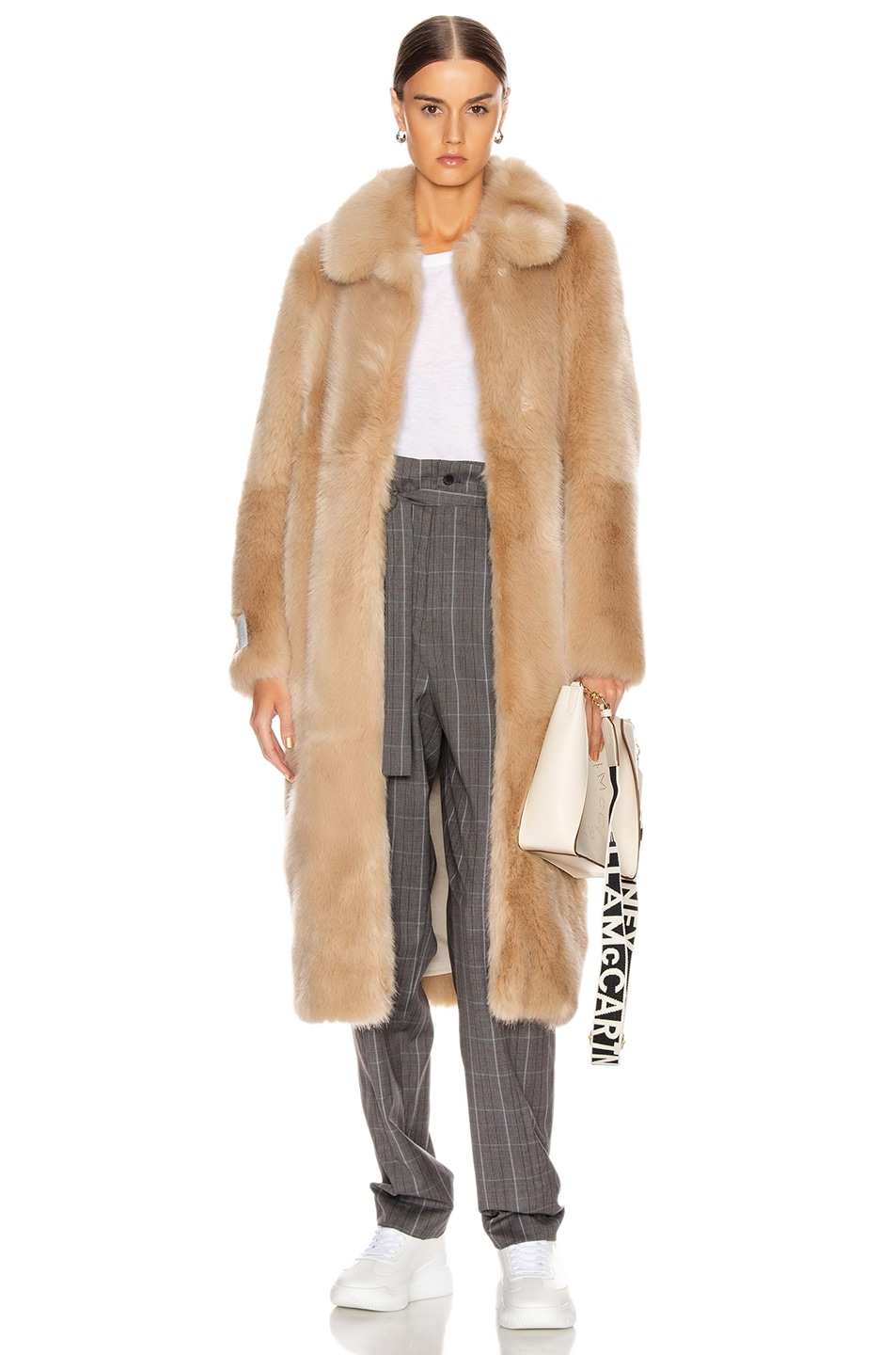 Image 1 of Stella McCartney Blinman Faux Fur Long Coat in Fawn
