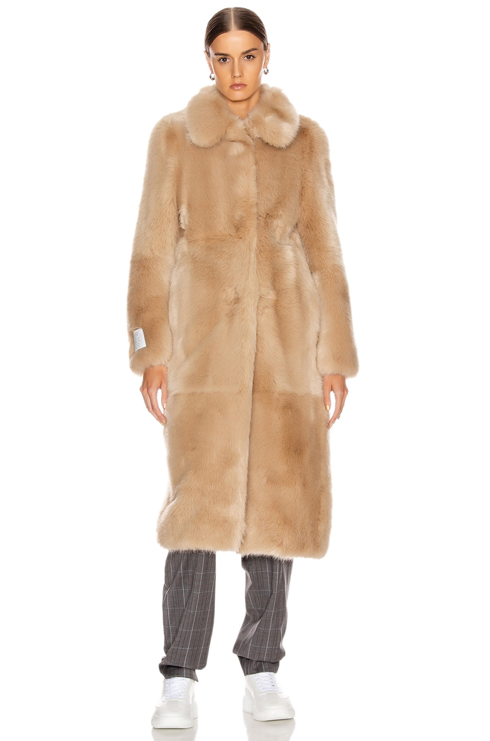 Image 2 of Stella McCartney Blinman Faux Fur Long Coat in Fawn