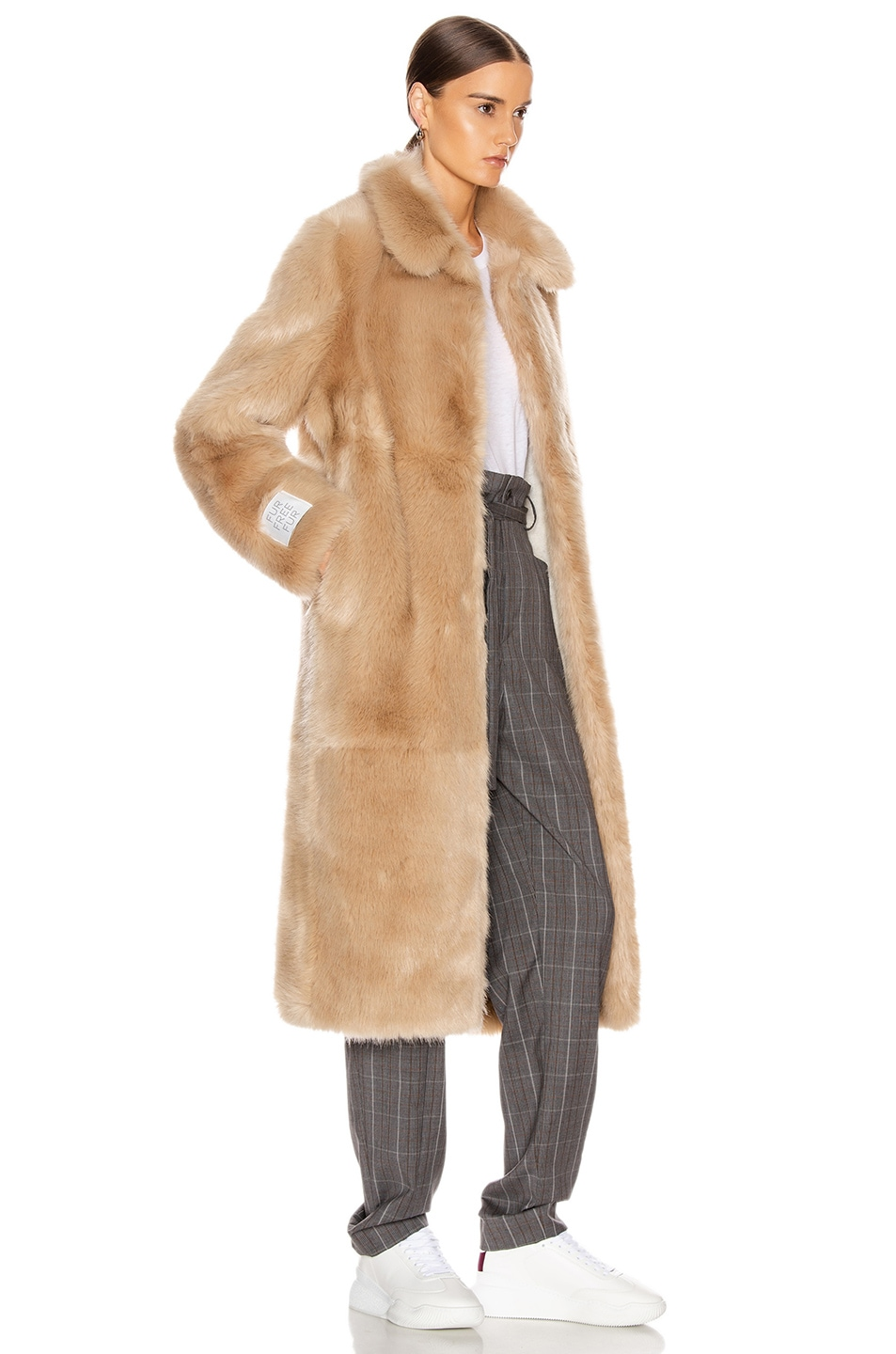 Image 3 of Stella McCartney Blinman Faux Fur Long Coat in Fawn