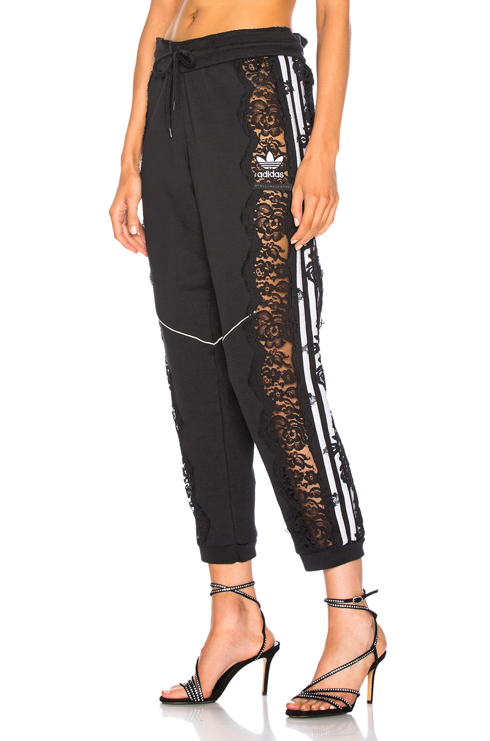 Image 1 of Stella McCartney x adidas Lace Trim Sweatpants in Black