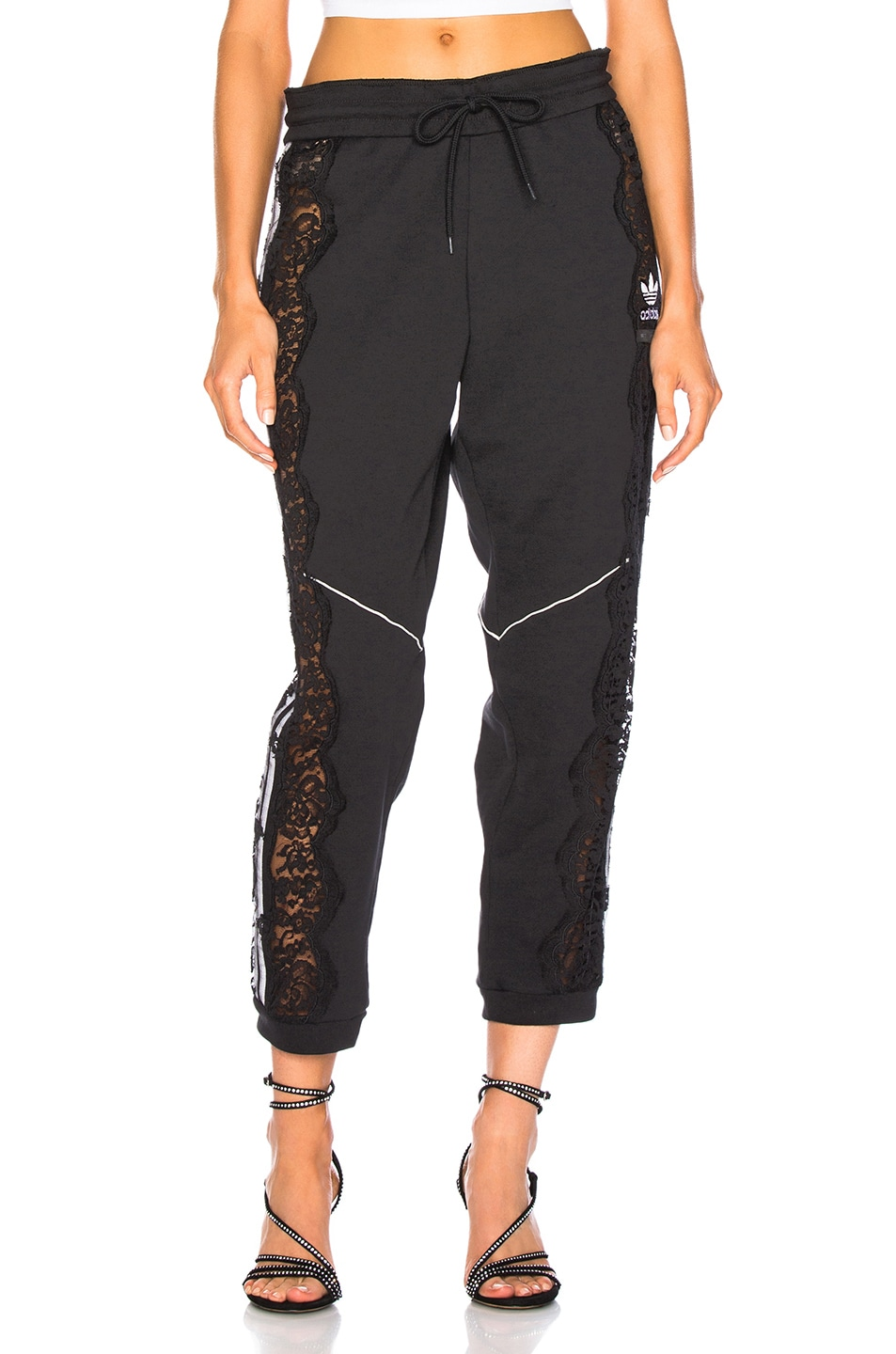 Image 2 of Stella McCartney x adidas Lace Trim Sweatpants in Black