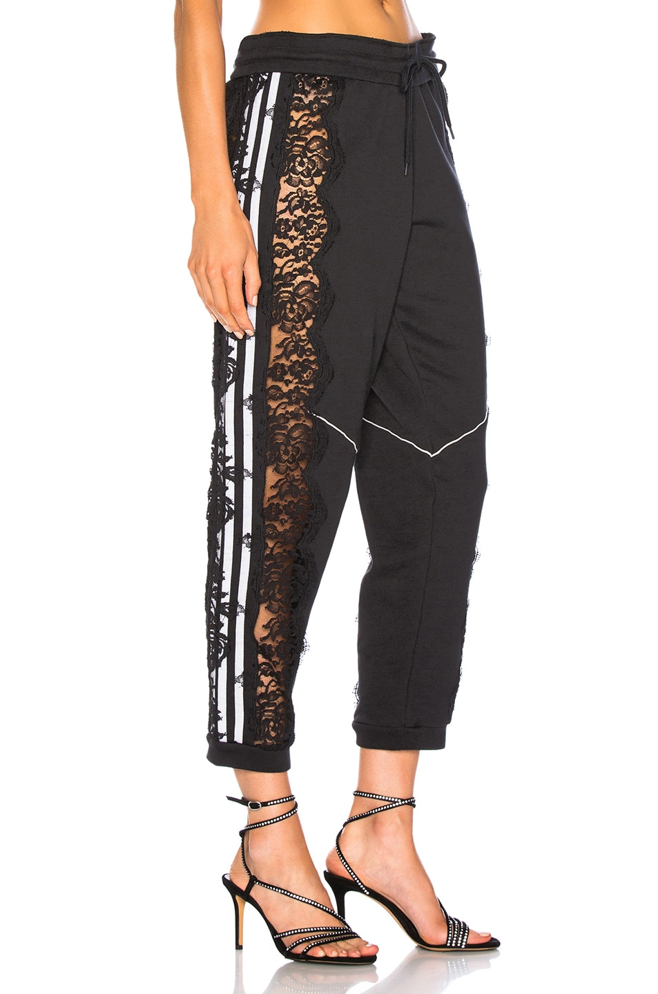 Image 3 of Stella McCartney x adidas Lace Trim Sweatpants in Black