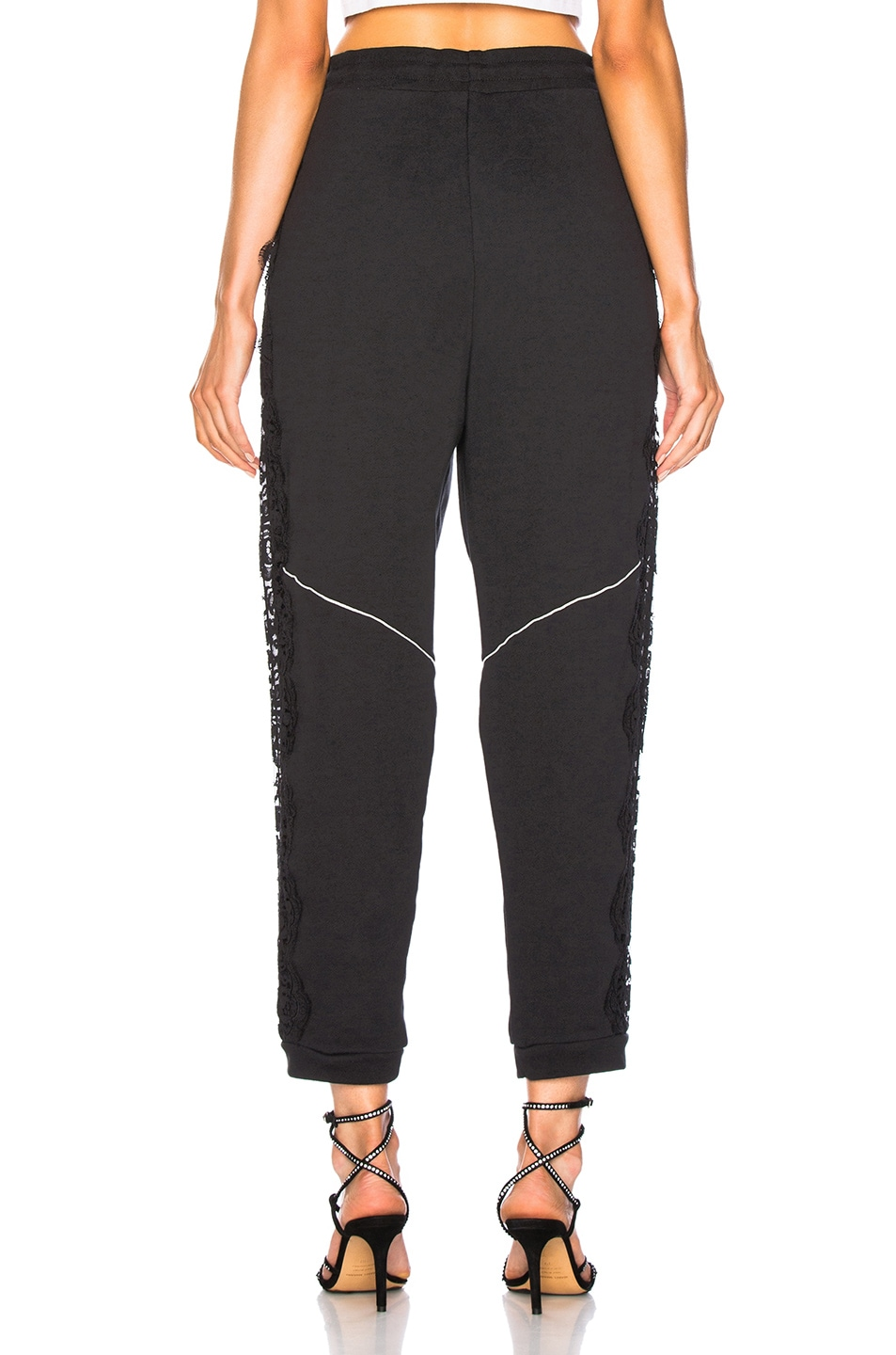 Image 4 of Stella McCartney x adidas Lace Trim Sweatpants in Black