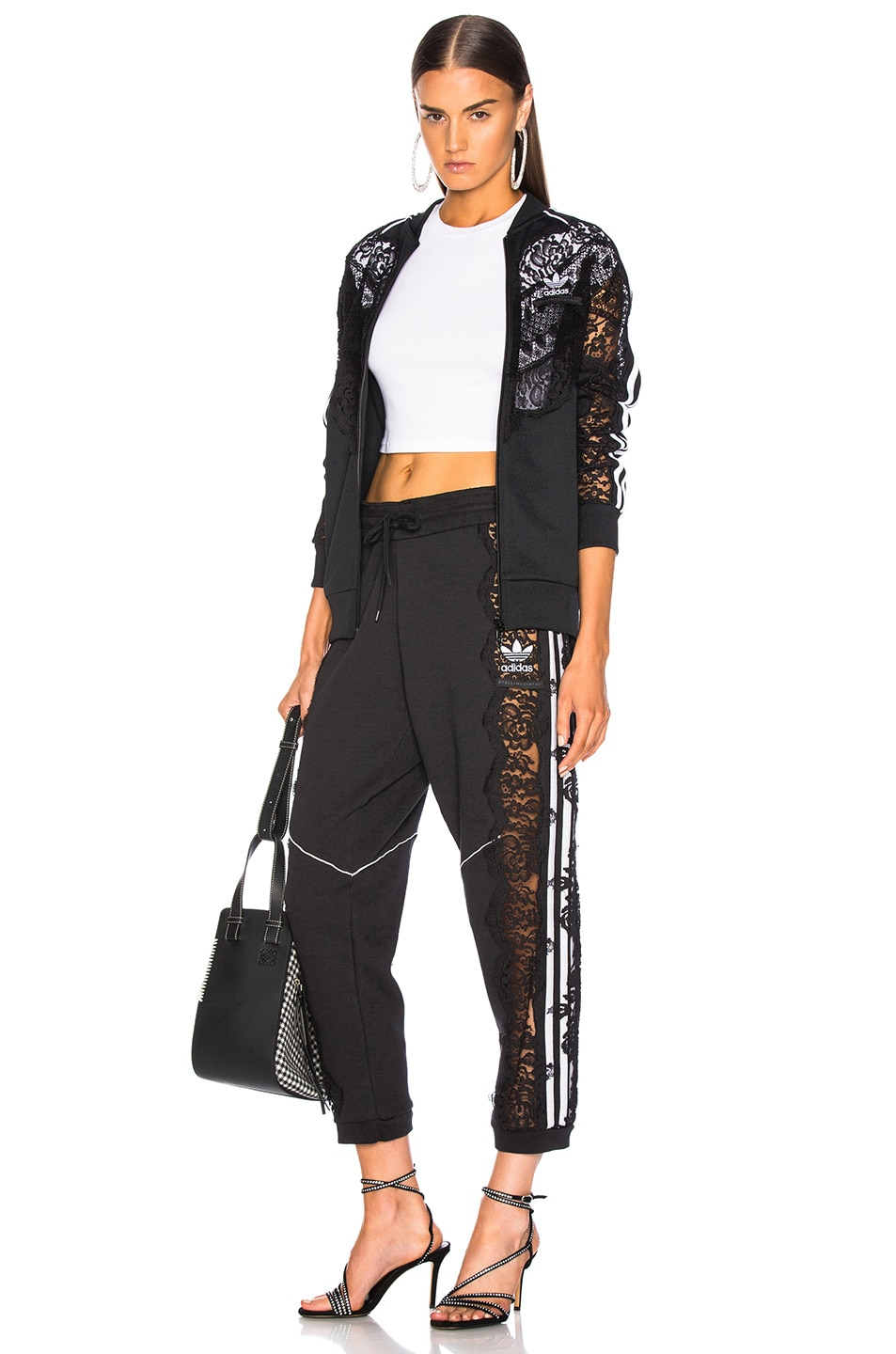 Image 5 of Stella McCartney x adidas Lace Trim Sweatpants in Black
