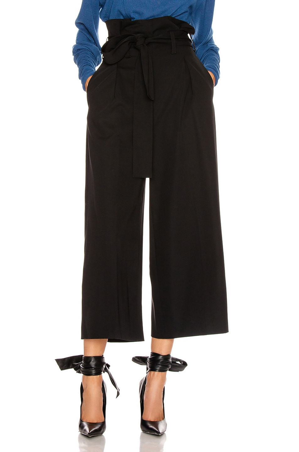 Image 1 of Stella McCartney Maggie Light Wool Tie Tailored Pant in Black