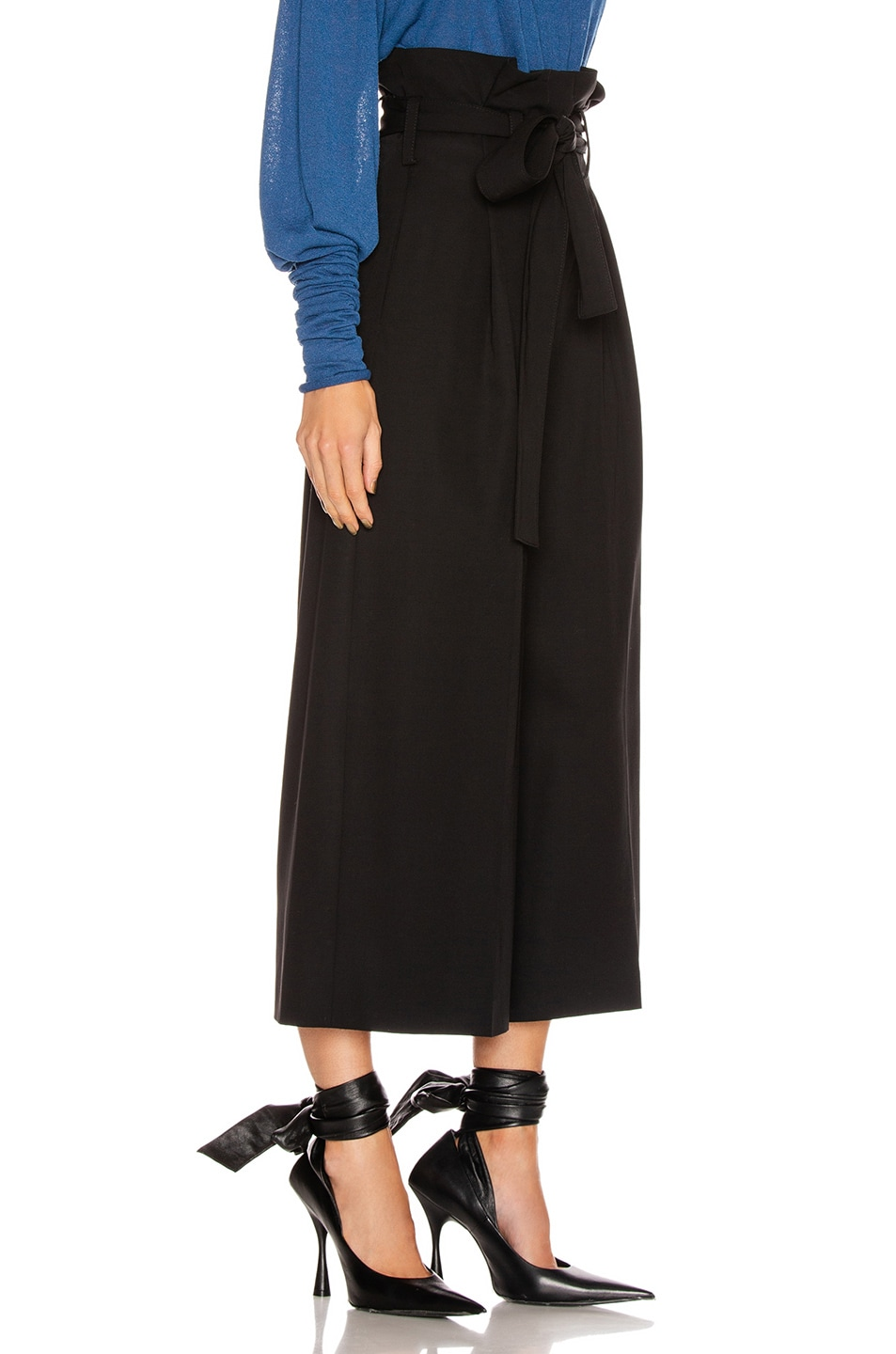 Image 2 of Stella McCartney Maggie Light Wool Tie Tailored Pant in Black