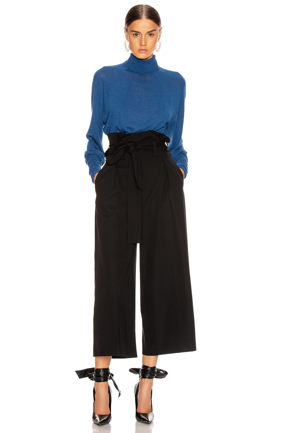 Image 4 of Stella McCartney Maggie Light Wool Tie Tailored Pant in Black