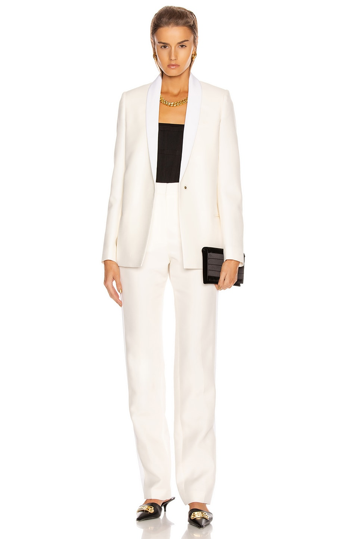 Image 5 of Stella McCartney Mikado Wool Trouser in Winter White