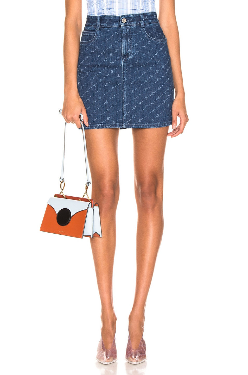 Image 1 of Stella McCartney Logo Mini Skirt in Dark Classic Blue