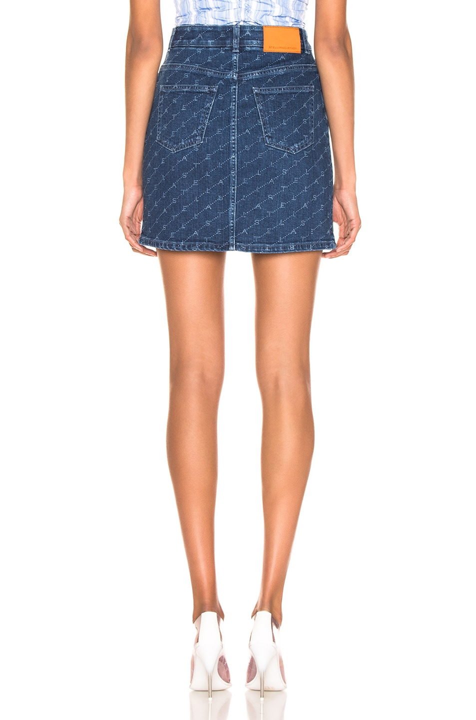 Image 3 of Stella McCartney Logo Mini Skirt in Dark Classic Blue