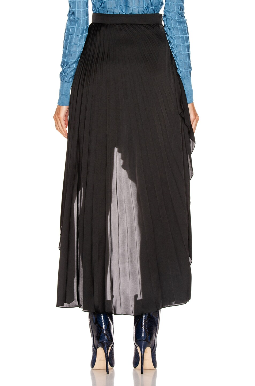 Image 3 of Stella McCartney Allora Pleated Satin Skirt in Black