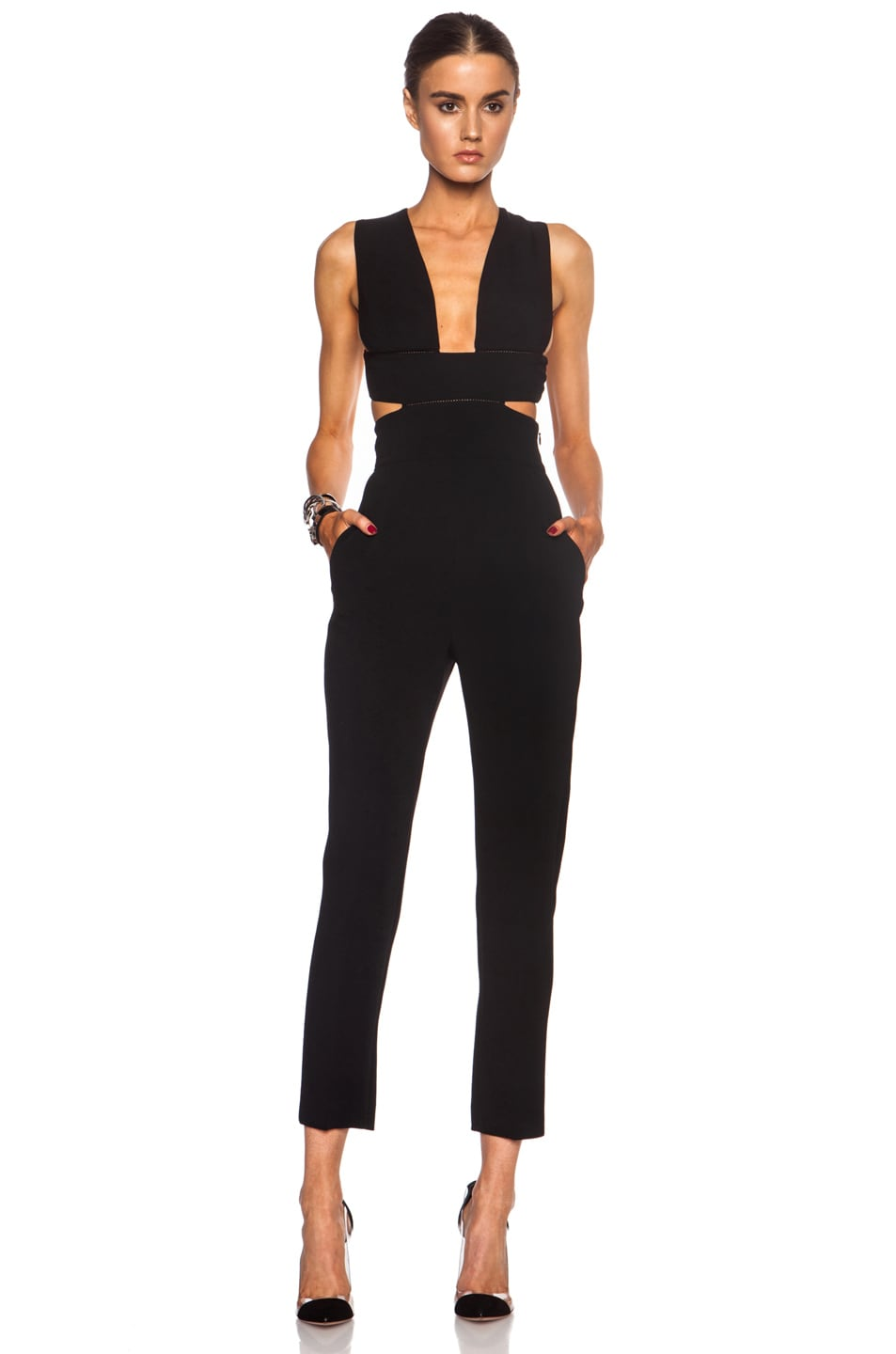 7ba173bdb02e Image 1 of Stella McCartney Cut Out Rayon-Blend Jumpsuit in Black