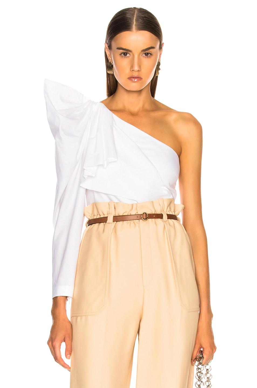 Image 1 of Stella McCartney Giada One Shoulder Shirt in Pure White