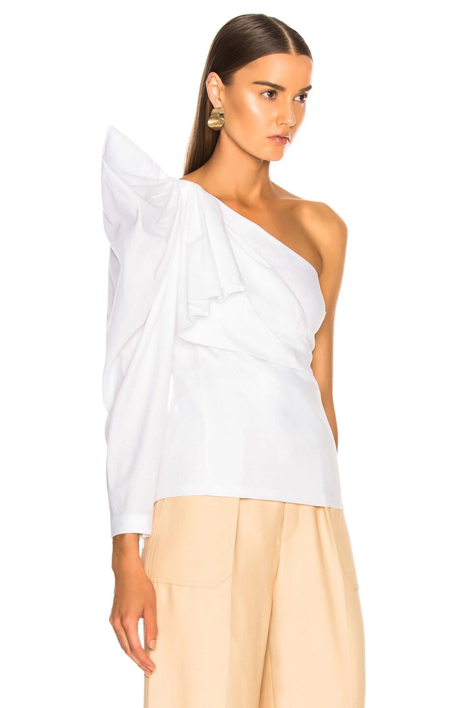 Image 3 of Stella McCartney Giada One Shoulder Shirt in Pure White