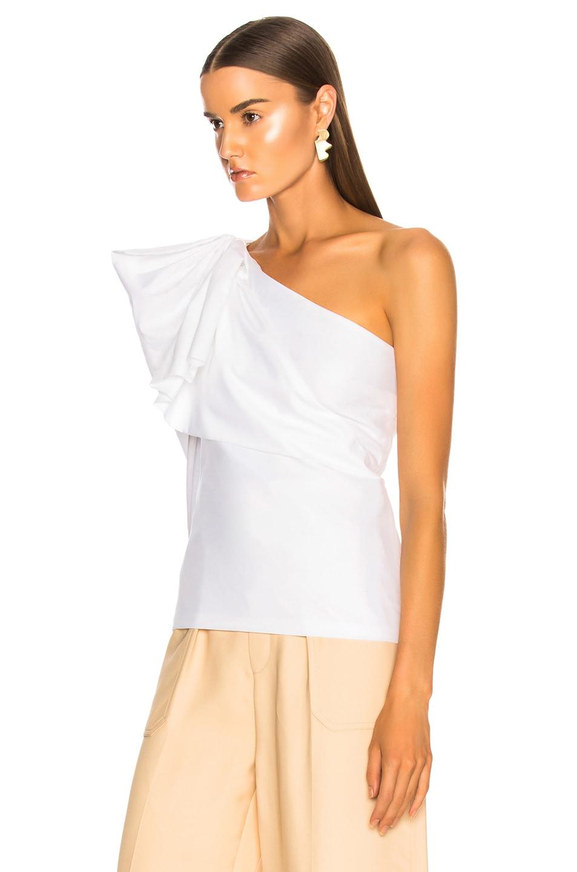 Image 4 of Stella McCartney Giada One Shoulder Shirt in Pure White