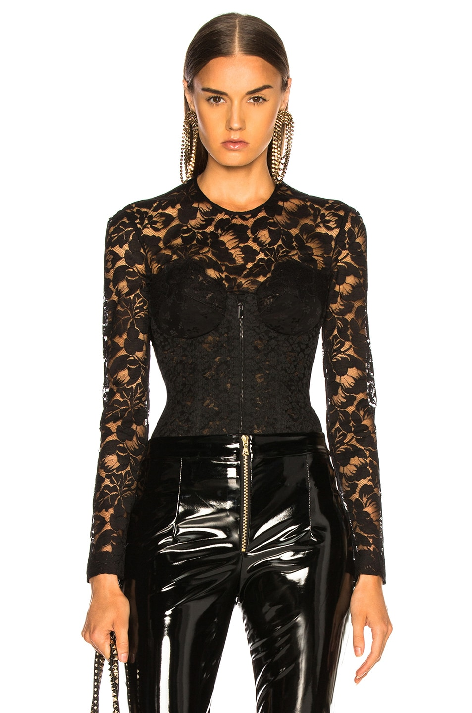 Image 1 of Stella McCartney Lace Corset Long Sleeve Top in Black