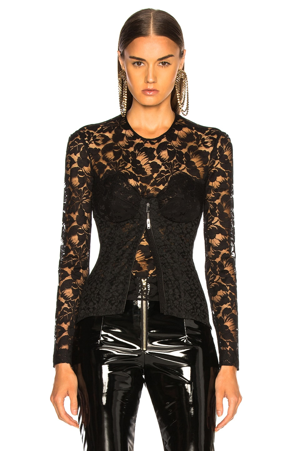 Image 2 of Stella McCartney Lace Corset Long Sleeve Top in Black