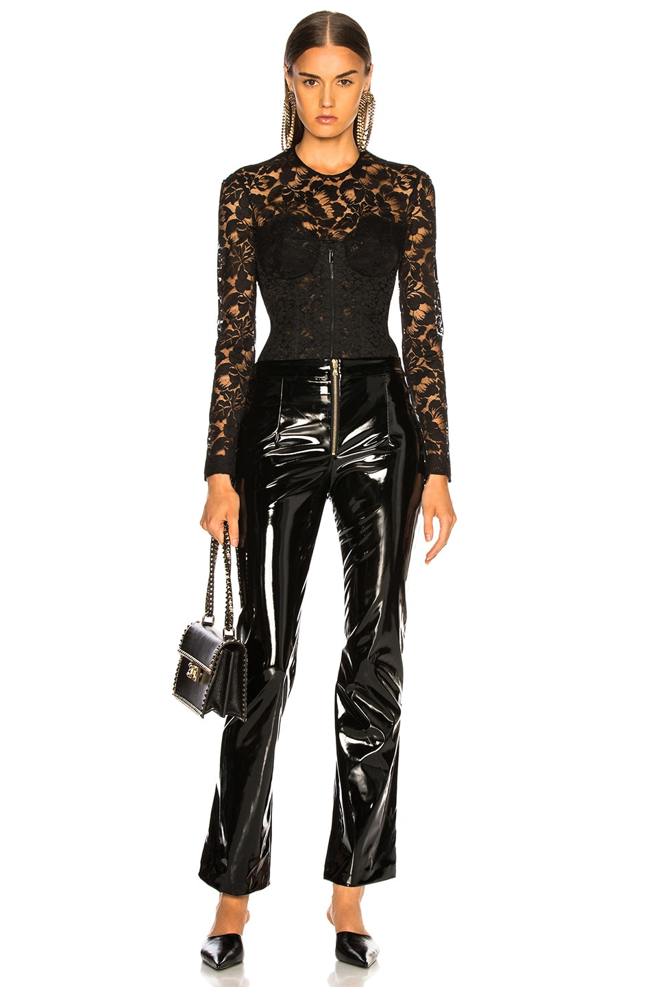 Image 5 of Stella McCartney Lace Corset Long Sleeve Top in Black