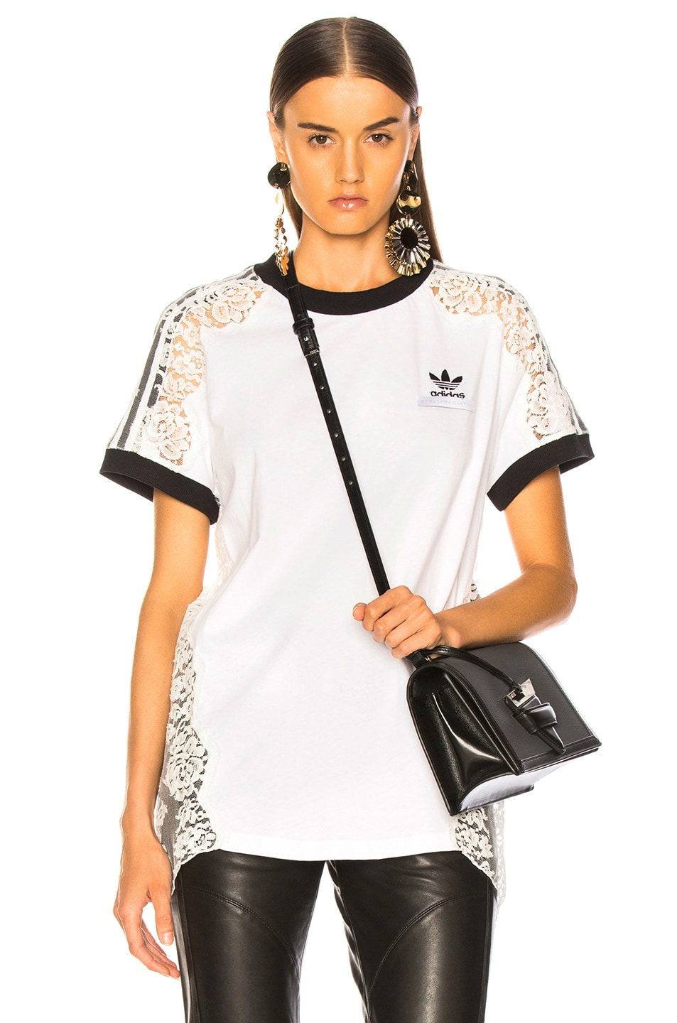 Image 1 of Stella McCartney x adidas Lace Trim Tee in Pure White