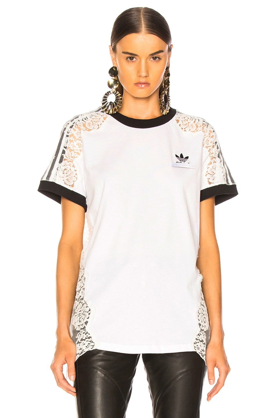 Image 2 of Stella McCartney x adidas Lace Trim Tee in Pure White