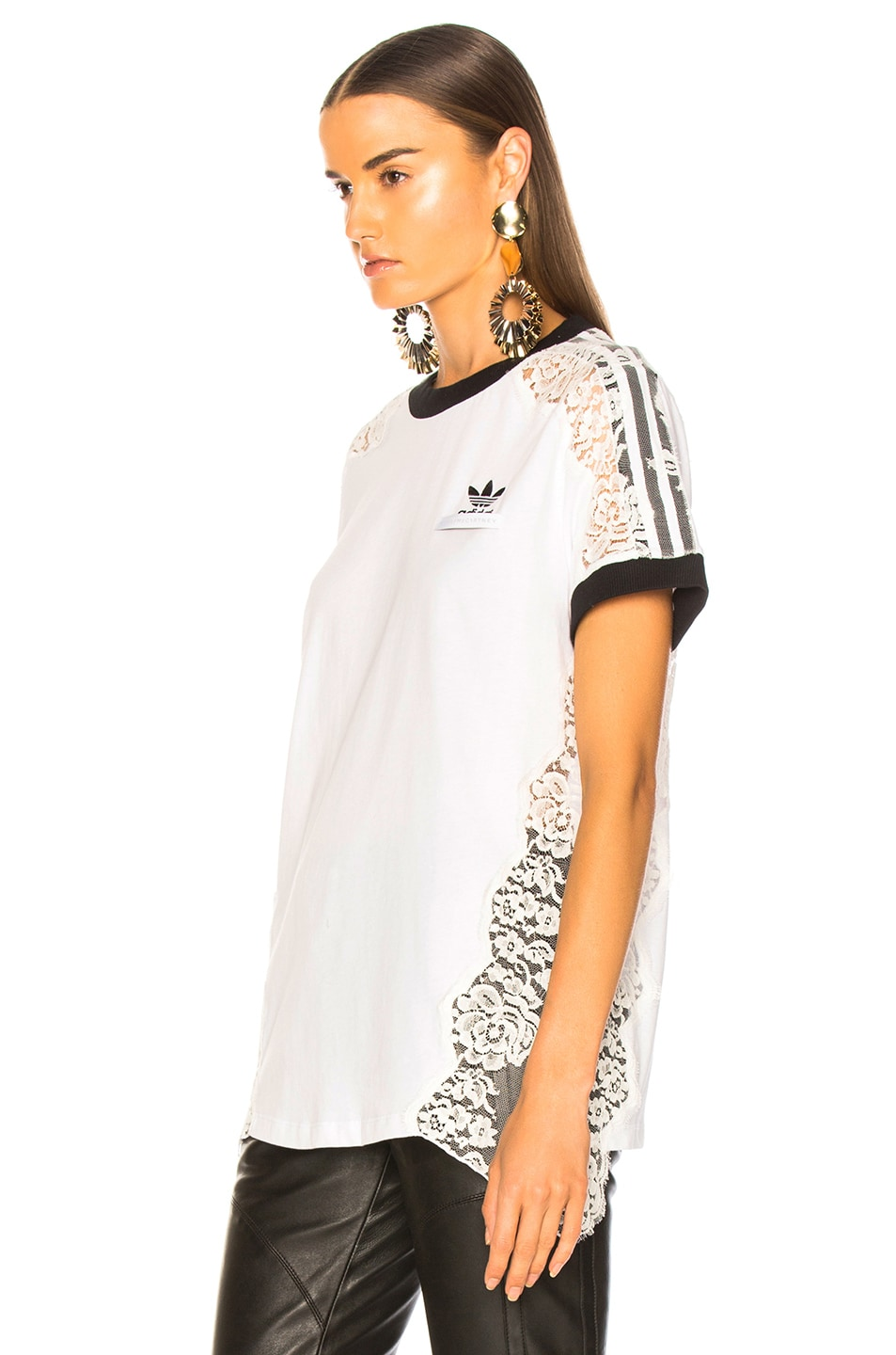 Image 4 of Stella McCartney x adidas Lace Trim Tee in Pure White