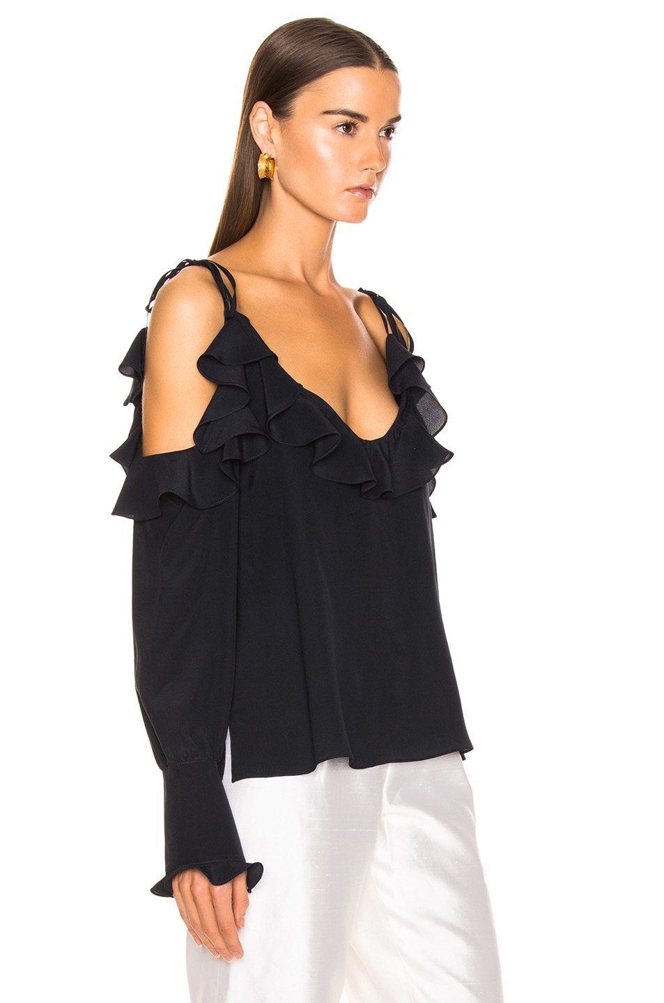 Image 2 of Stella McCartney Ruffle Cold Shoulder Top in Ink