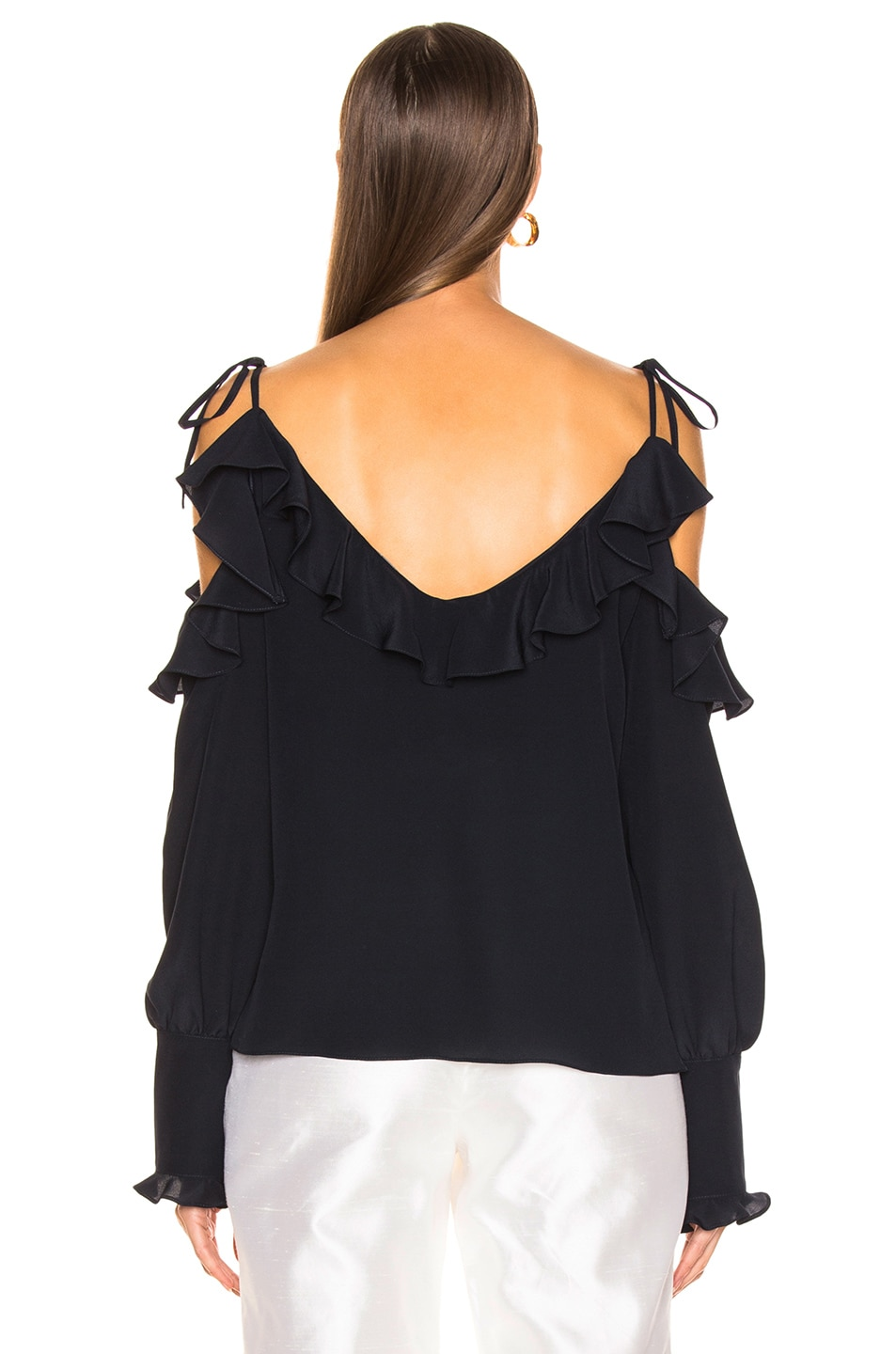 Image 3 of Stella McCartney Ruffle Cold Shoulder Top in Ink
