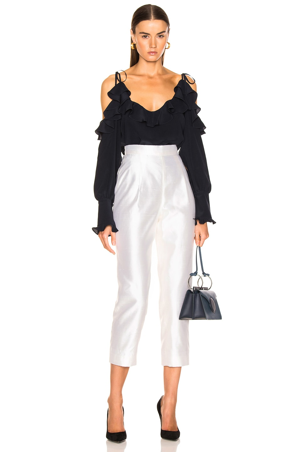 Image 4 of Stella McCartney Ruffle Cold Shoulder Top in Ink