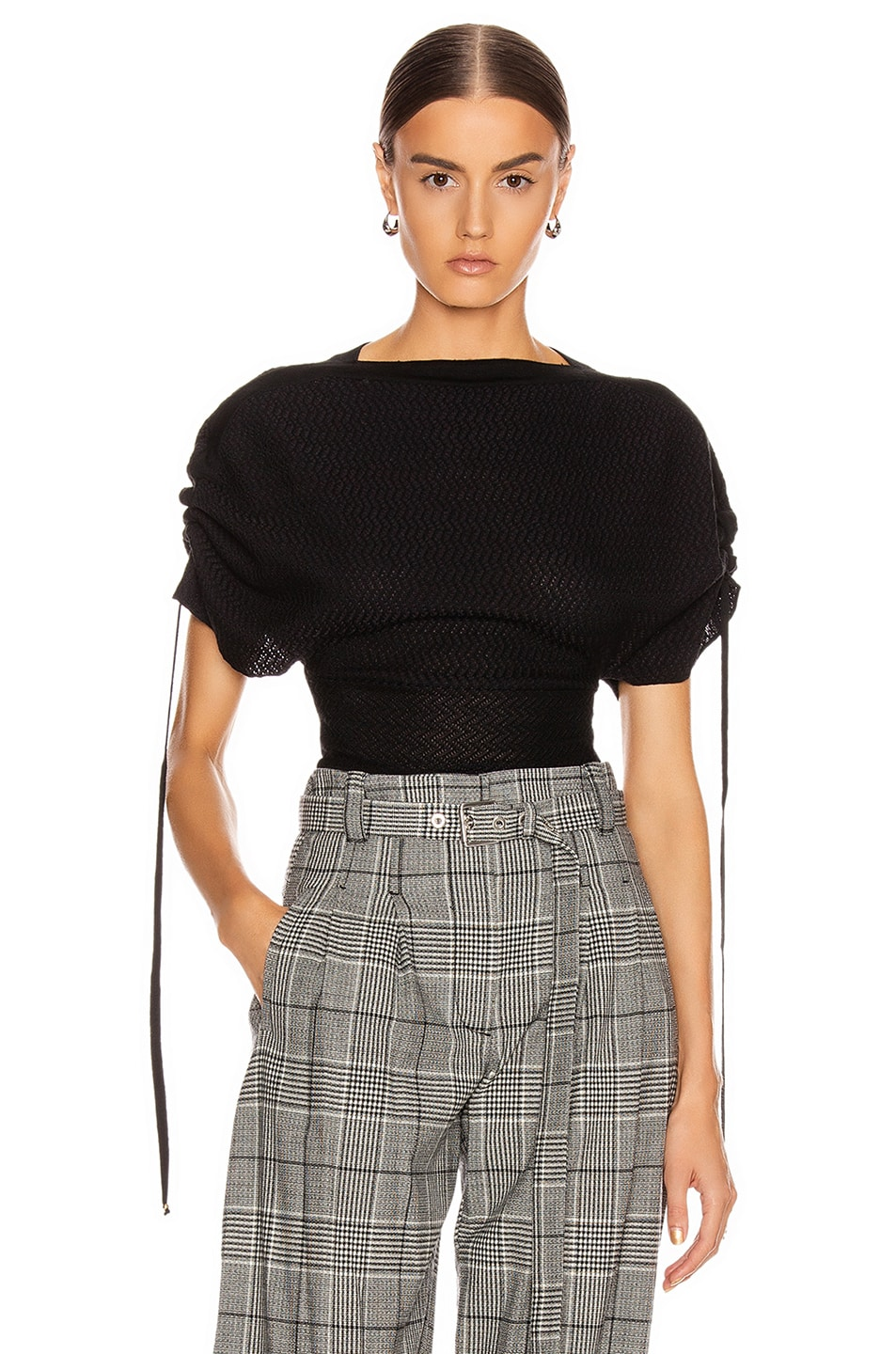 Image 1 of Stella McCartney Tie Tweed Top in Black & Grey