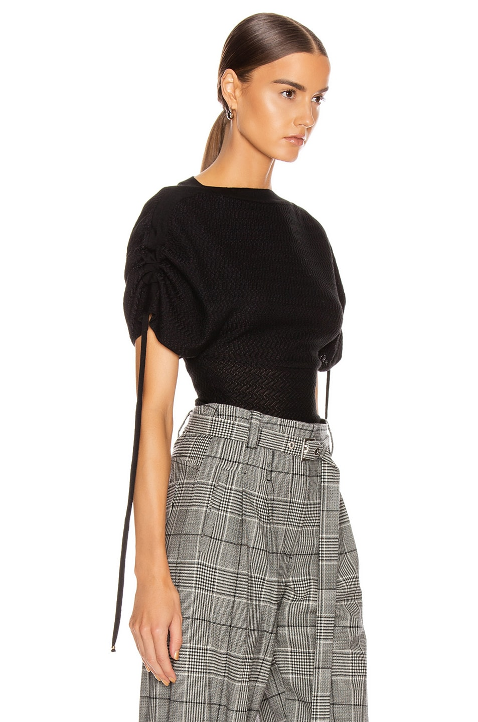 Image 2 of Stella McCartney Tie Tweed Top in Black & Grey