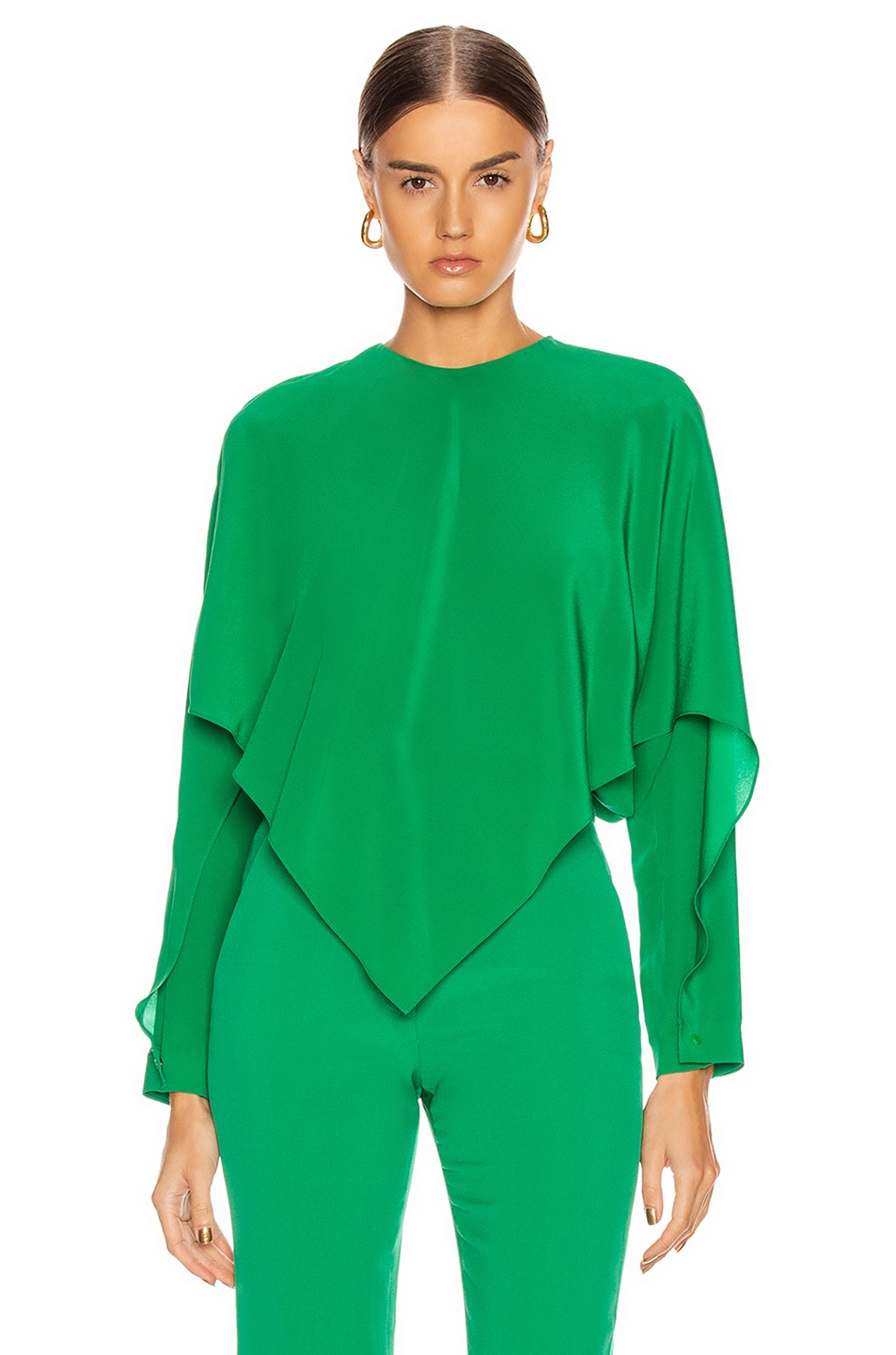 Image 1 of Stella McCartney Silk Crepe Top in Sparkle Green