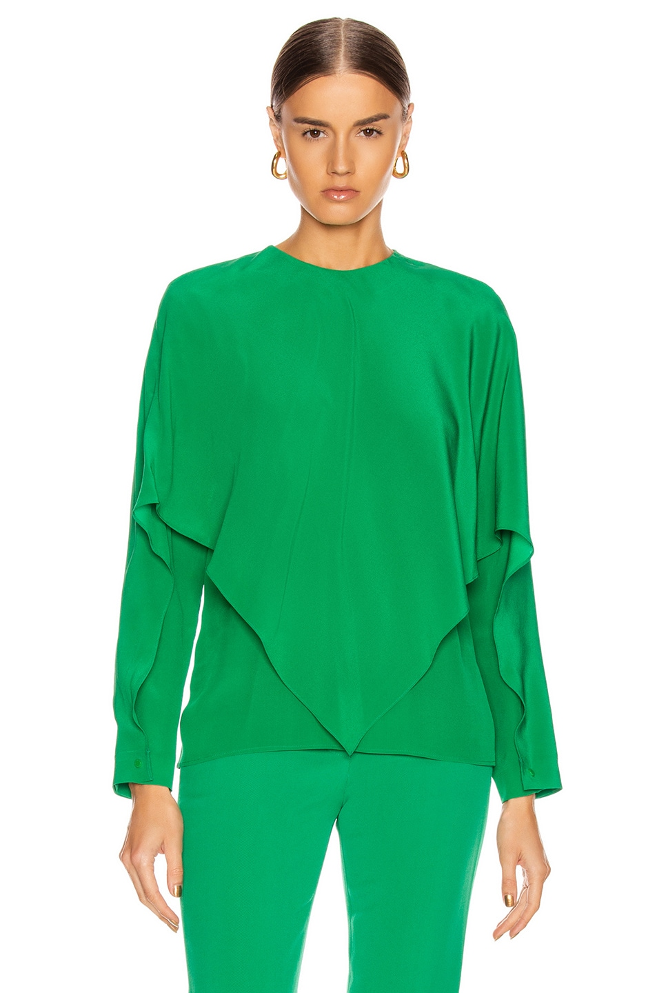 Image 2 of Stella McCartney Silk Crepe Top in Sparkle Green