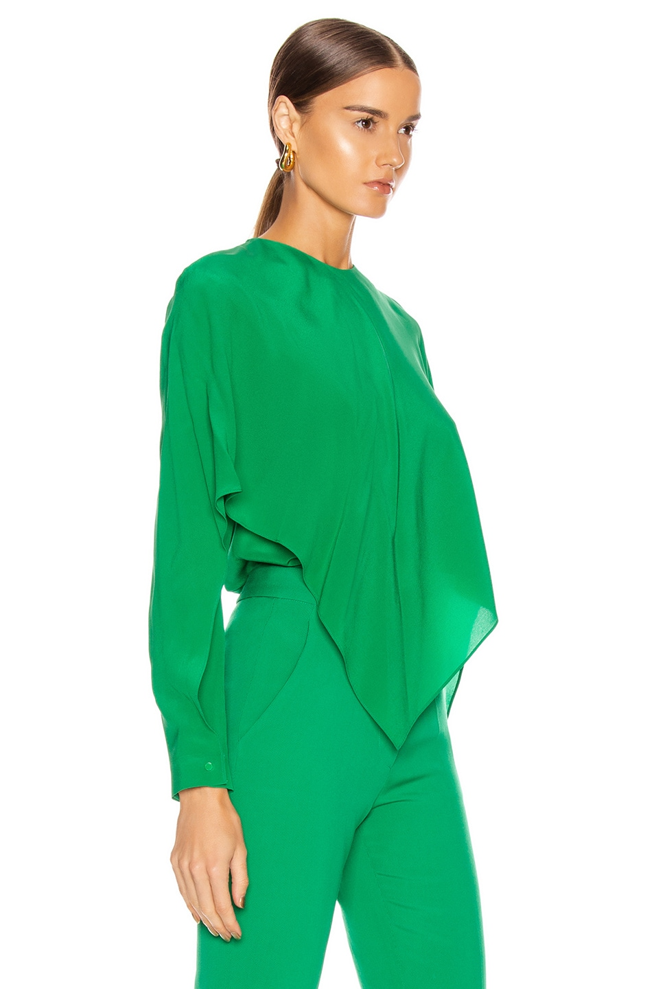 Image 3 of Stella McCartney Silk Crepe Top in Sparkle Green