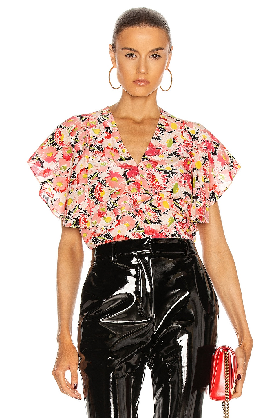 Image 1 of Stella McCartney Mallory Watercolor Floral Silk Top in Multicolor Pink
