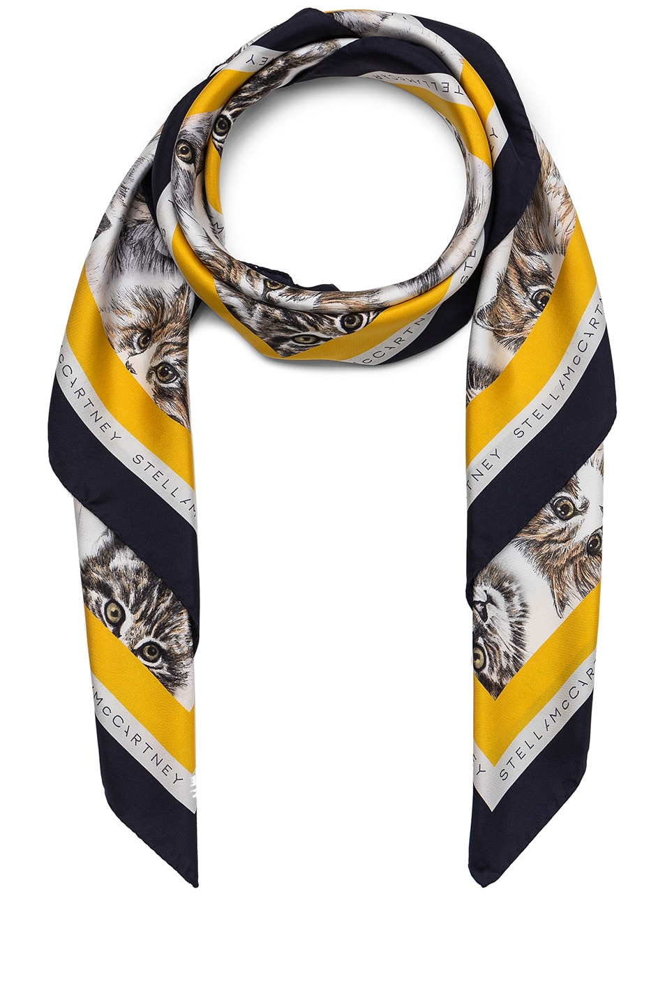 Image 1 of Stella McCartneyCat Print Scarf in Pure White