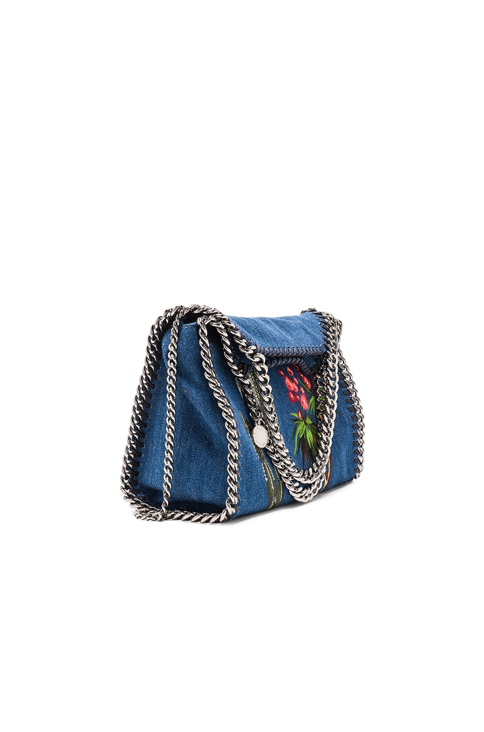 Image 1 of Stella McCartney Falabella Mini Embroidered Tote in Cerulean