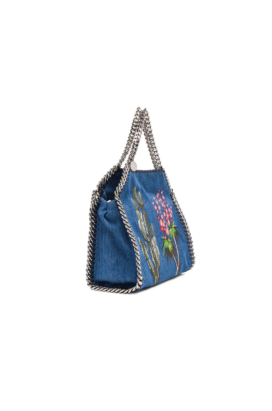 Image 4 of Stella McCartney Falabella Mini Embroidered Tote in Cerulean