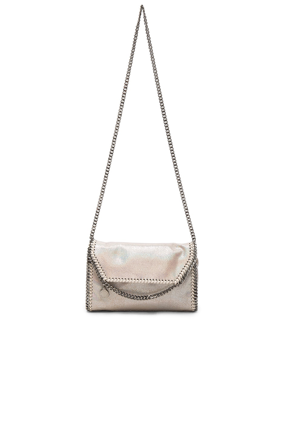 Image 5 of Stella McCartney Falabella Holographic Chamois Fold Over Crossbody in Holo Cream