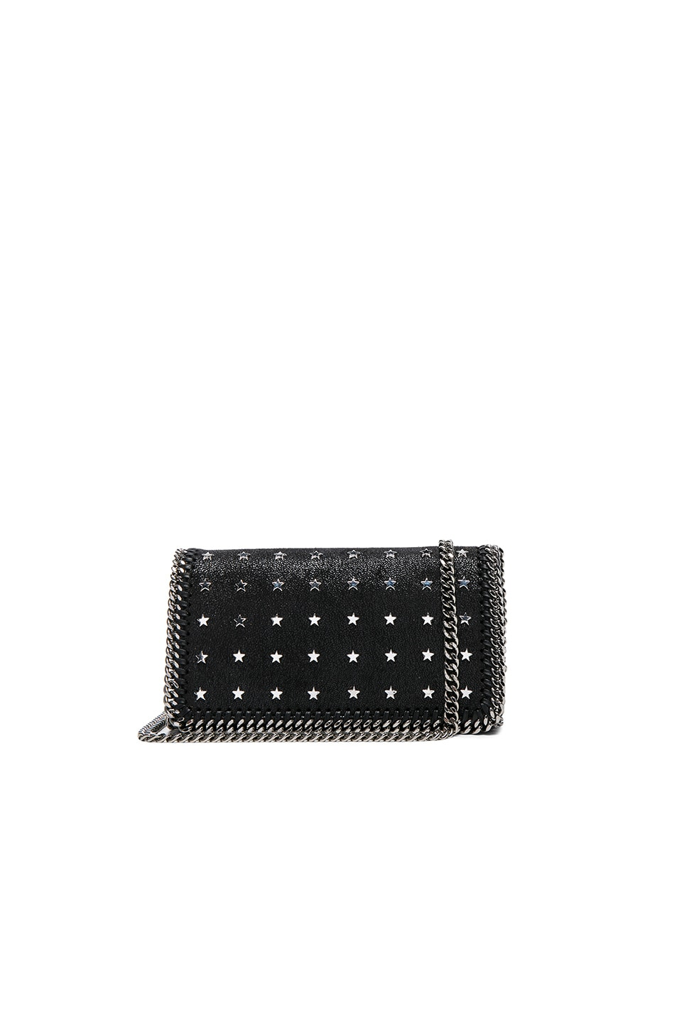 Image 1 of Stella McCartneyFalabella Star Print Clutch in Black