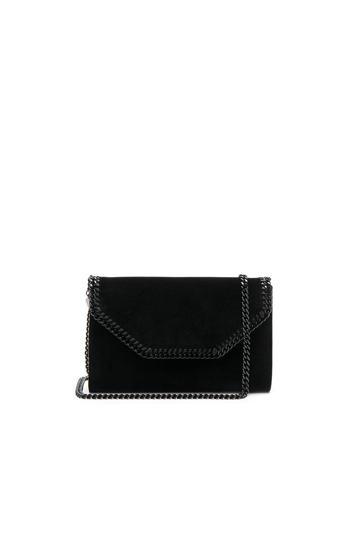 Image 1 of Stella McCartney Falabella Box Velvet Clutch in Black