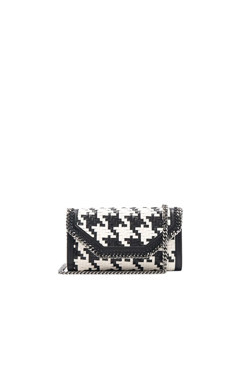 f28e54182a02 Image 1 of Stella McCartney Falabella Box Eco Alter Houndstooth Weave  Clutch in Black   White
