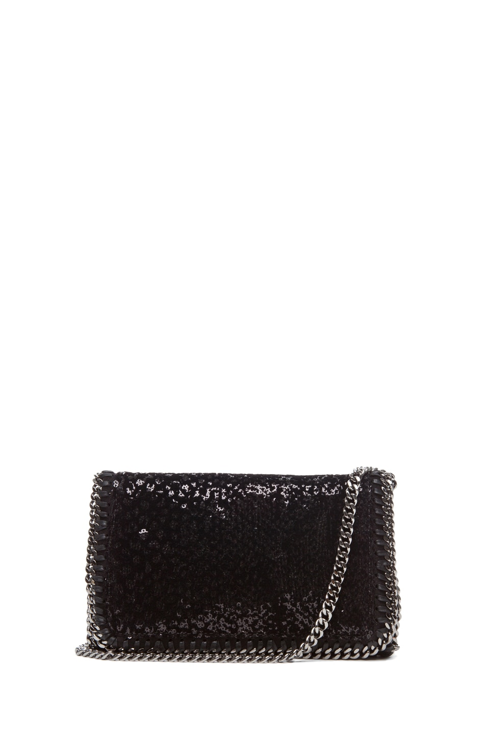Image 1 of Stella McCartneyVelvet Paillettes Clutch in Black