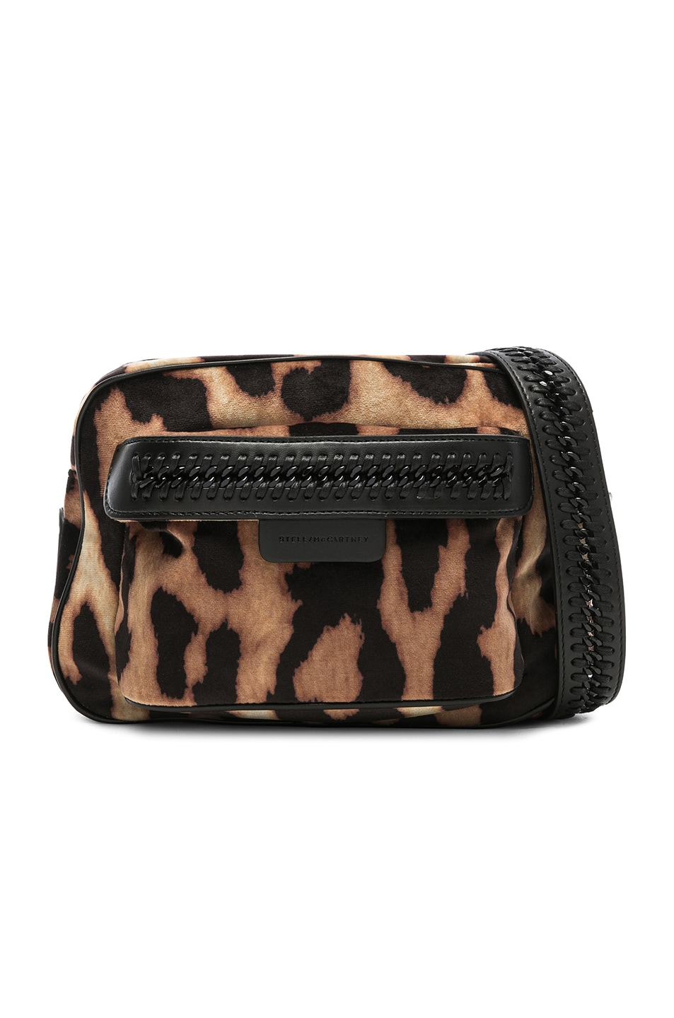 726cbc38d9 Image 1 of Stella McCartney Falabella Go Leopard Print Velvet Camera Bag in  Camel   Black