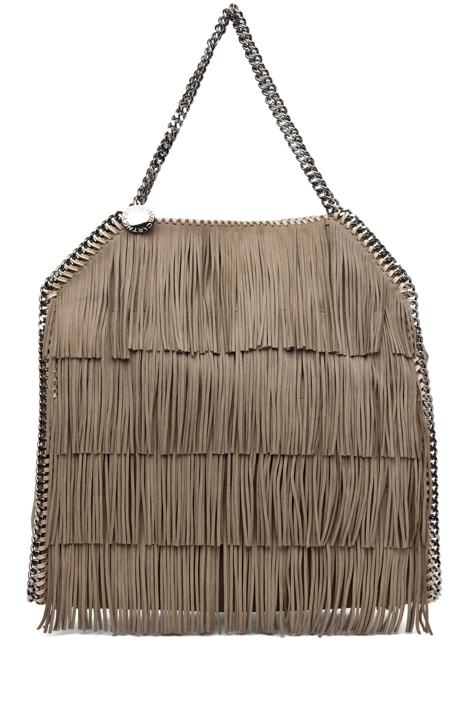 Image 1 of Stella McCartneyFalabella Large Suede Fringe Tote in Taupe