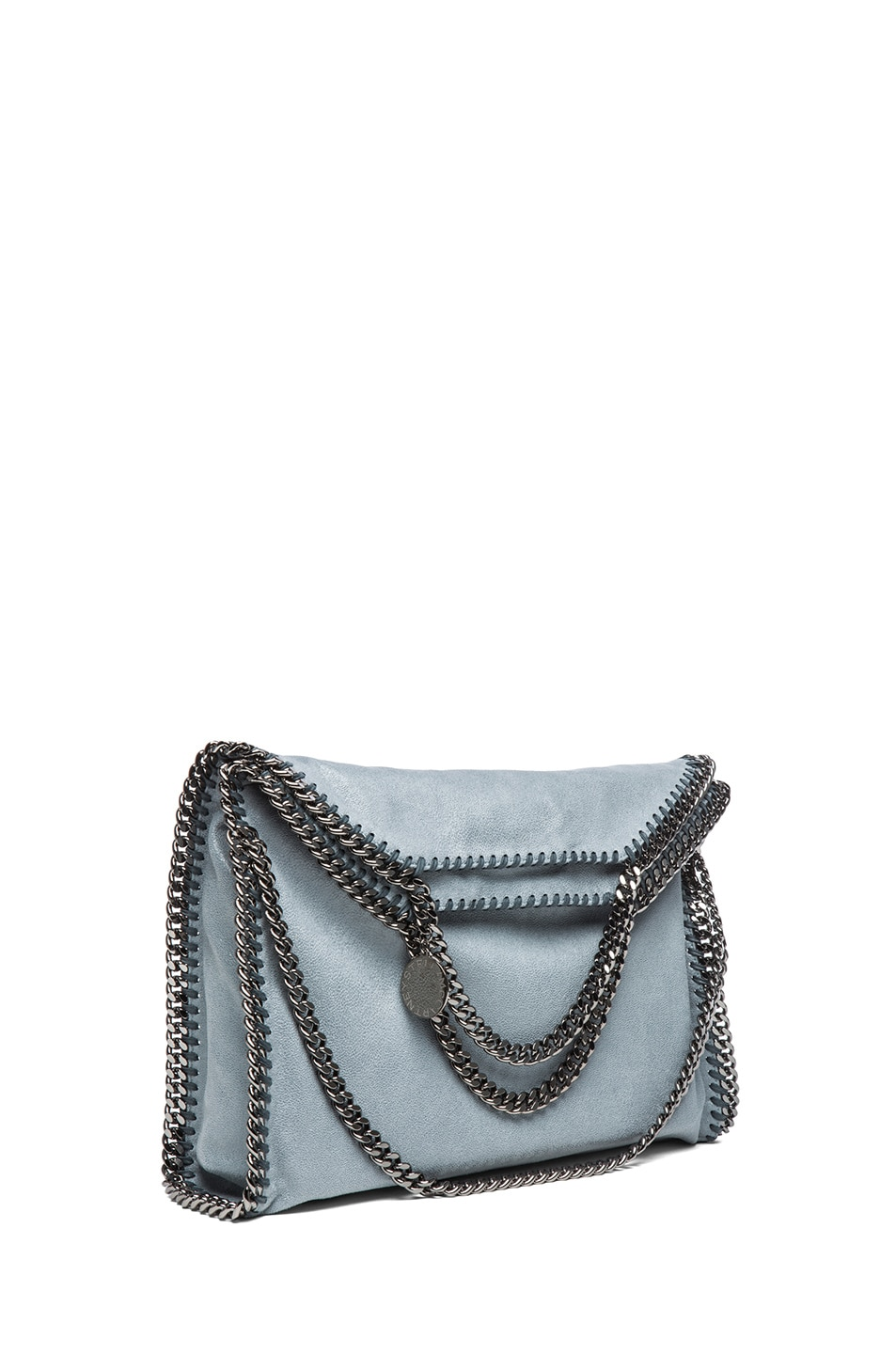 Image 1 of Stella McCartney Small Falabella Shaggy Deer Fold Over Tote in Sky