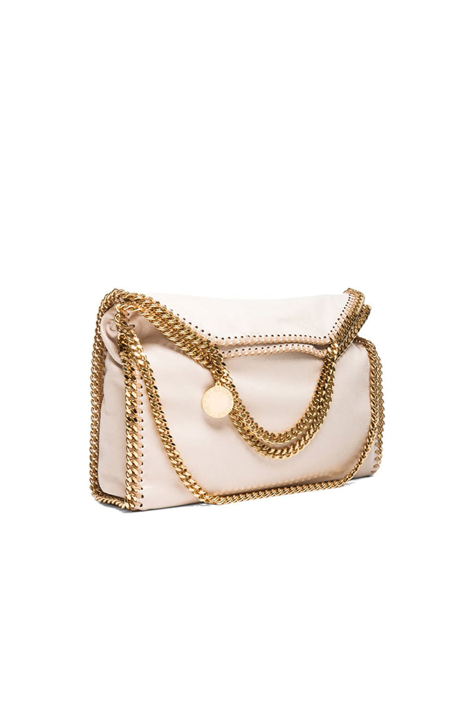 Image 1 of Stella McCartneySmall Falabella Fold Over Tote/Gold in Nude