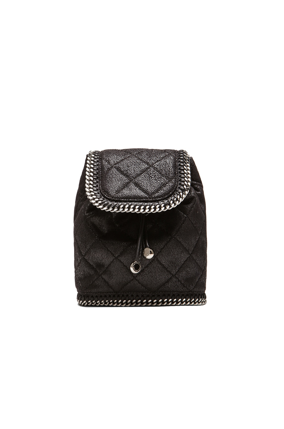 Image 1 of Stella McCartney Falabella Quilted Shaggy Deer Mini Backpack in Black