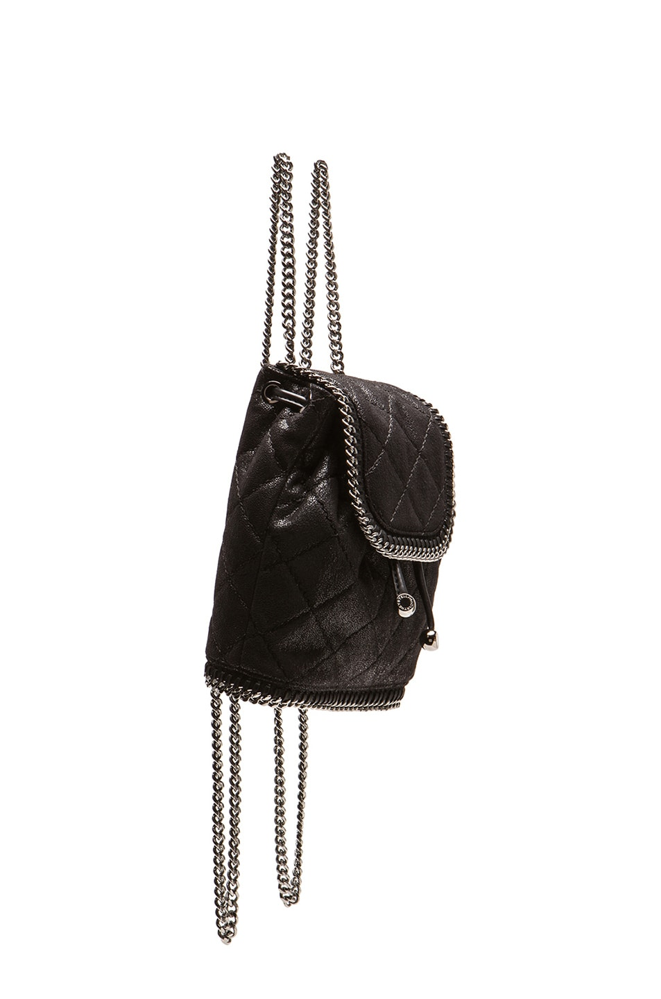 fcf0ed036de Image 4 of Stella McCartney Falabella Quilted Shaggy Deer Mini Backpack in  Black