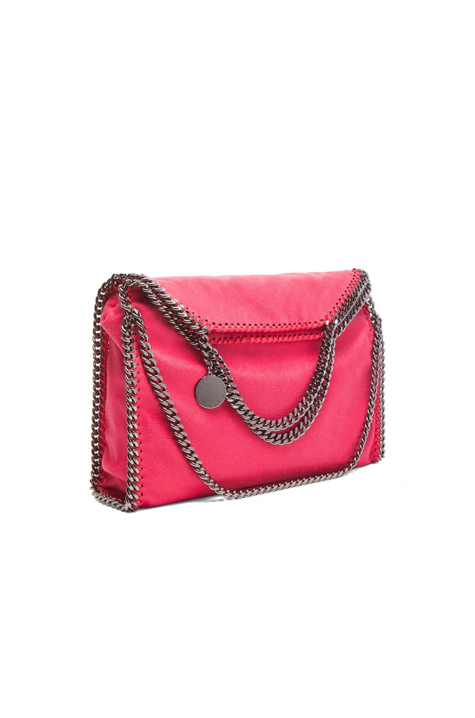 Image 1 of Stella McCartney Falabella Shaggy Deer Fold Over Tote in Pink Fluorescent