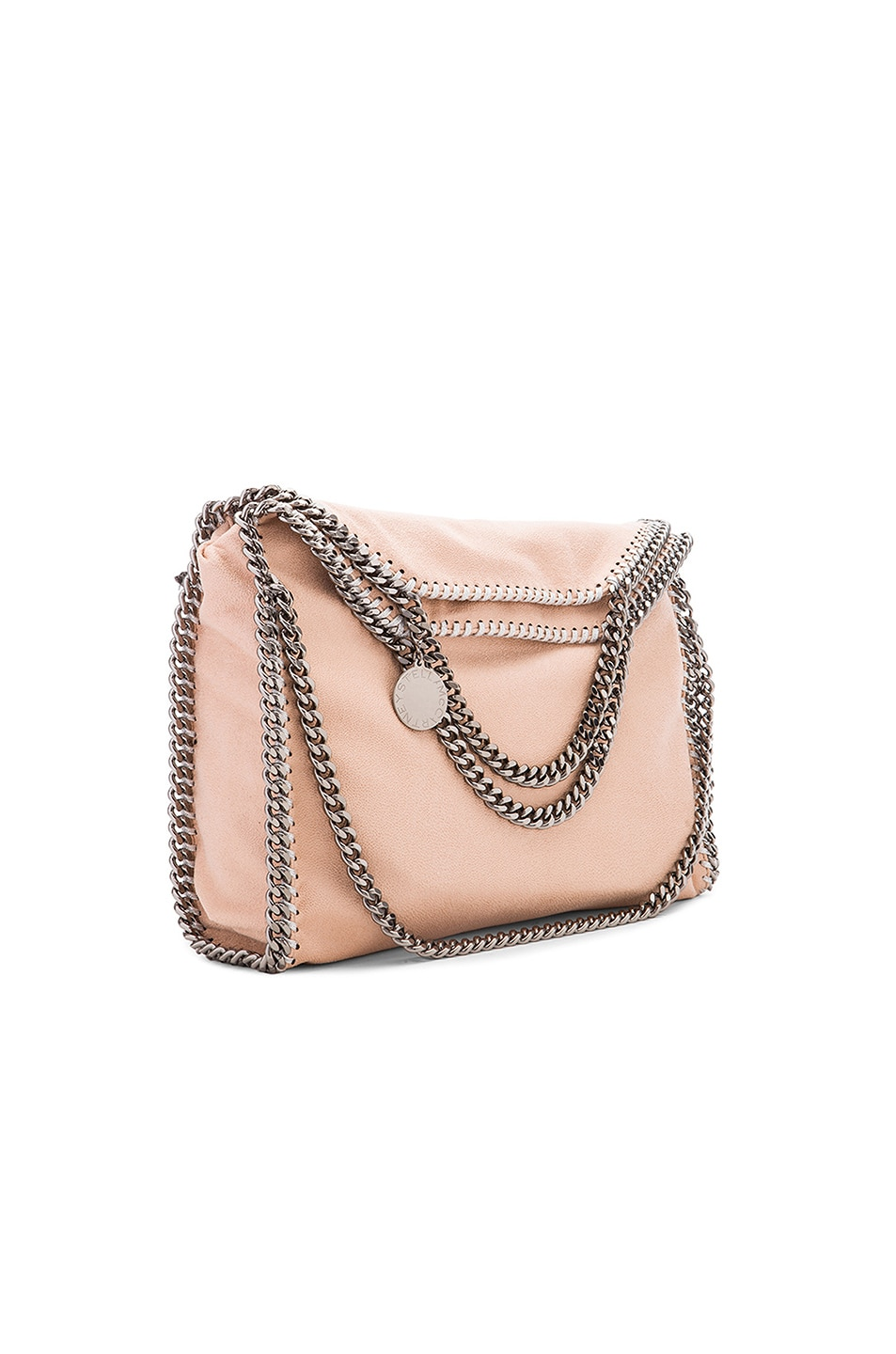 Image 1 of Stella McCartney Small Fallabella Shaggy Deer Fold Over Tote in Powder & Silver